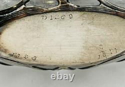 Gorham Antique Sterling Silver Overlay Glass Art Nouveau Liquor Flask