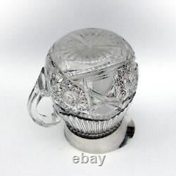 Gorham Cut Glass Water Pitcher Beaded Rim Sterling Silver 1897 Mono