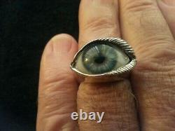 Great Frog Glass Eye Silver Ring