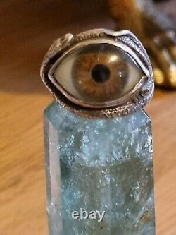 Great frog vintage rare glass eye ring