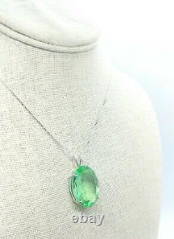 HUGE Sterling Uranium Glass Faceted Gem Pendant Necklace 925 Silver Vaseline