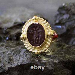 Hammerede Real Venetian Glass Intaglio Ring W Garnet Gold over Sterling Silver