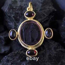 Handmade Real Venetian Glass Intaglio Pendant W Onyx Gold Over 925K Silver
