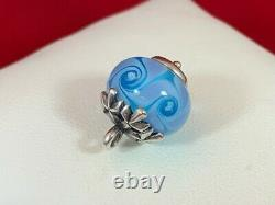 James Avery RETIRED Sterling Silver Blue Snowflake Glass Finial Charm