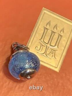 James Avery Retired Blue Hope Anchor Finial Glass Bead 925SS GIFT BOX Temp Loop
