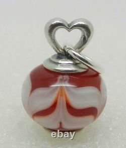 James Avery Retired Sterling Heart Red And White Art Glass Finial Rare Find