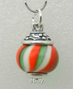 James Avery Retired Sterling Holly Jolly Christmas Art Glass Finial Very Rare