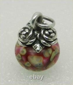 James Avery Retired Sterling Rose Floral Glass Finial Charm Rare Lb-c1437b
