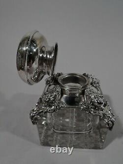 Kerr Inkwell 886 Antique Art Nouveau Inkpot American Sterling Silver Glass