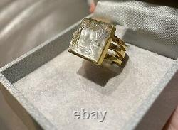LALIQUE MASQUE DE FEMME RING Small Size Gold Plated On Sterling Silver