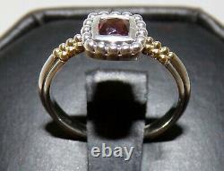Lagos Caviar 18k Yellow Gold Sterling Silver Sm Ruby Red Glass Ring Sz 6 Beauty