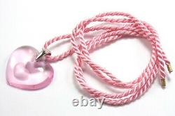 Lalique Coeur Tender Heart Love Pink Glass Crystal 925 Silver Necklace Pendant