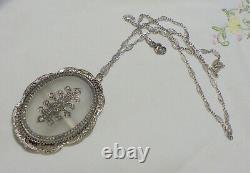 Large Camphor Glass Pendant W, Foral Esign, Filigree Frame, Brooch/or Necklace