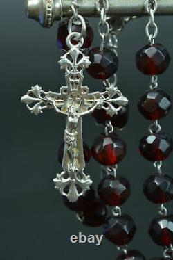 Large french Antique Rosary Sterling Silver garnet glass Art Nouveau 26