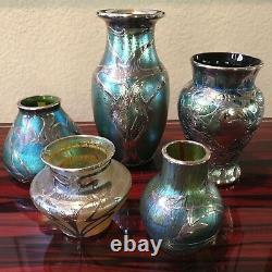 Loetz Art Glass Vase with Sterling Overlay Silver