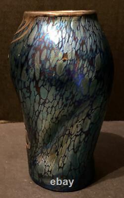 Loetz Blue Iridescent Glass Twist Vase Sterling Silver Overlay Art Nouveau 1900