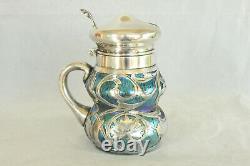 Loetz Blue Oil Spot Art Glass Sterling Silver Overlay Nouveau Mustard Pot