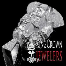 Mens 10K White Gold On Silver Jesus Face With Glasses Charm Simu Diamond Pendant