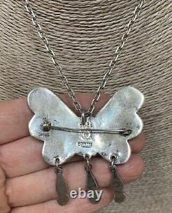 Mexican Sterling Silver Vintage Matl Poulat Style Butterfly Pin Pendant