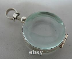 Modern Silver & Crystal Glass Pool Of Light Locket Pendant 2.4cm 14.7g A602017