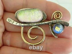 Modernist Barbara SUCHERMAN 14K & Sterling Silver Opal Glass Artisan Pin Brooch