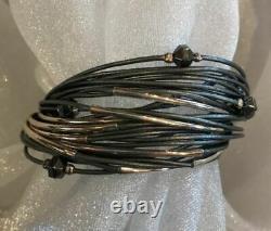 NEW SILPADA B2143 Sterling Silver Hematite Glass Grey Leather Bracelet