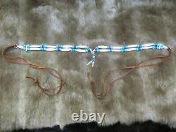 Native American SS Eagle turquoise Stone Buffalo Bone choker necklace old Glass