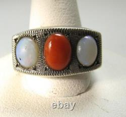 Neat Vintage Handmade Sterling Silver Ring Natural Red Coral Opal Glass Antique