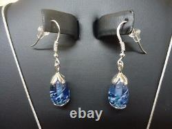 Necklace and Earring Set Fenton Glass Jewelry Sterling Silver. 925