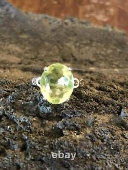 Neon Canary Yellow Super Rare Sterling Uranium Glass Ring Size 6.5