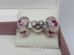 New withBox Pandora Set of 3 Charms Treasured & Wild Hearts Glass Love Romance