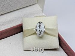 New with Box Pandora Atlantic City White Murano Glass Bead Charm Dice CZ's