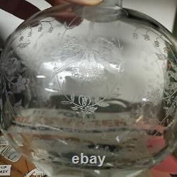 Old HEISEY ORCHID Sterling Silver Topped ELEGANT Etched GLASS DECANTER