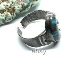 Old Pawn Navajo Sterling Silver Bisbee Turquoise Glass Stone Open Band Ring