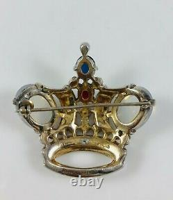 Old Philippe Trifari Sterling Silver Shaped Crown Pin Brooch Moonstone Cabochons