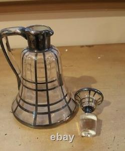 Old Vtg. Sterling Silver Overlay Liquor Bottle Jug Decanter /flask- Glass