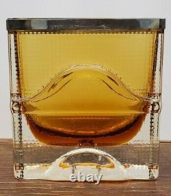 Oy Kumela Finland Art Glass Vase Amber With Sterling Silver Band 1970s Rare