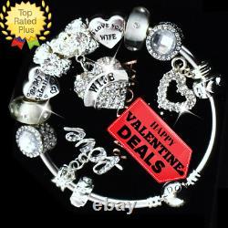 PANDORA Charm Bracelet Silver I LOVE MY WIFE VALENTINE European Charms New Box