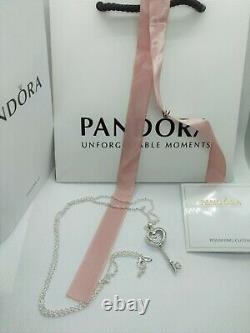 PANDORA Floating Locket Heart Key Necklace, Sapphire Crystal & Clear CZ