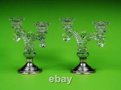 Pair Of Cambridge Martha Weighted Sterling Silver & Crystal Glass Candelabra