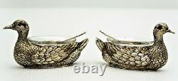 Pair Sterling Silver Figural Duck Salts Glass Insert English Sterling Spoons