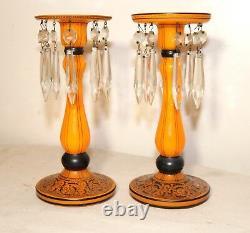 Pair antique Czechoslovakian sterling silver crystal orange glass candlesticks