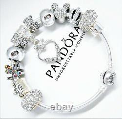 Pandora Silver Bracelet Disney White Mickey Mouse Crystal Heart European Charms