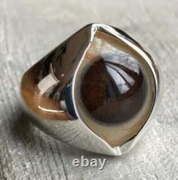 Prosthetic Eye Ring Hand Painted Dark Warm Brown. Glass. 925 Sterl silver Sz 8