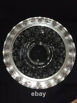 RARE! Wallace Sterling Silver & Cambridge Glass Rose Point 13 Centerpiece Bowl
