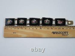 Rare Antique Victorian 1850 Micro Mosaic Floral French Silver Bracelet, 39.8g