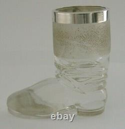 Rare English Solid Sterling Silver Glass Matchstriker 1901 Antique Novelty Boot