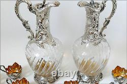Rare French Sterling Silver 18k Gold Liquor Set, Decanter Pair, Glasses, Box