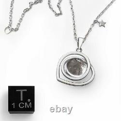 Real Moon Rock Meteorite Heart Shaped Necklace (From Lunar Meteorite NWA 5000)