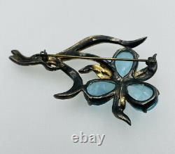 Reja Vintage Sterling Silver Rhinestone & Blue Glass Flower Brooch Pin